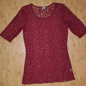 Women's BKE Buckle Floral Lace Short Sleeve Shirt